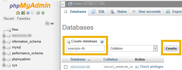 phpmyadmin create MySQL database