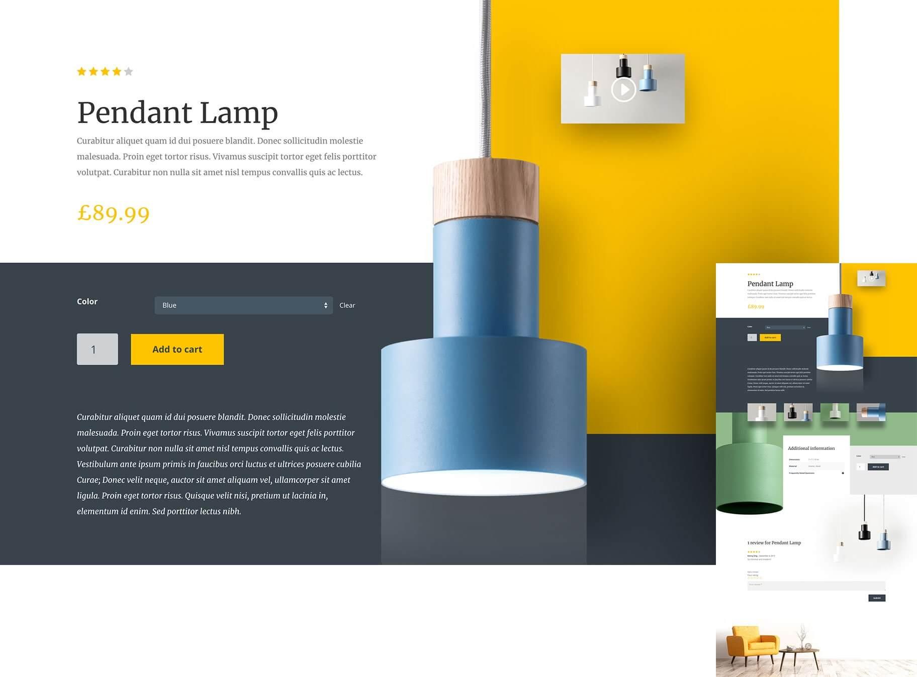 divi review of divi woocommerce builder example lamp