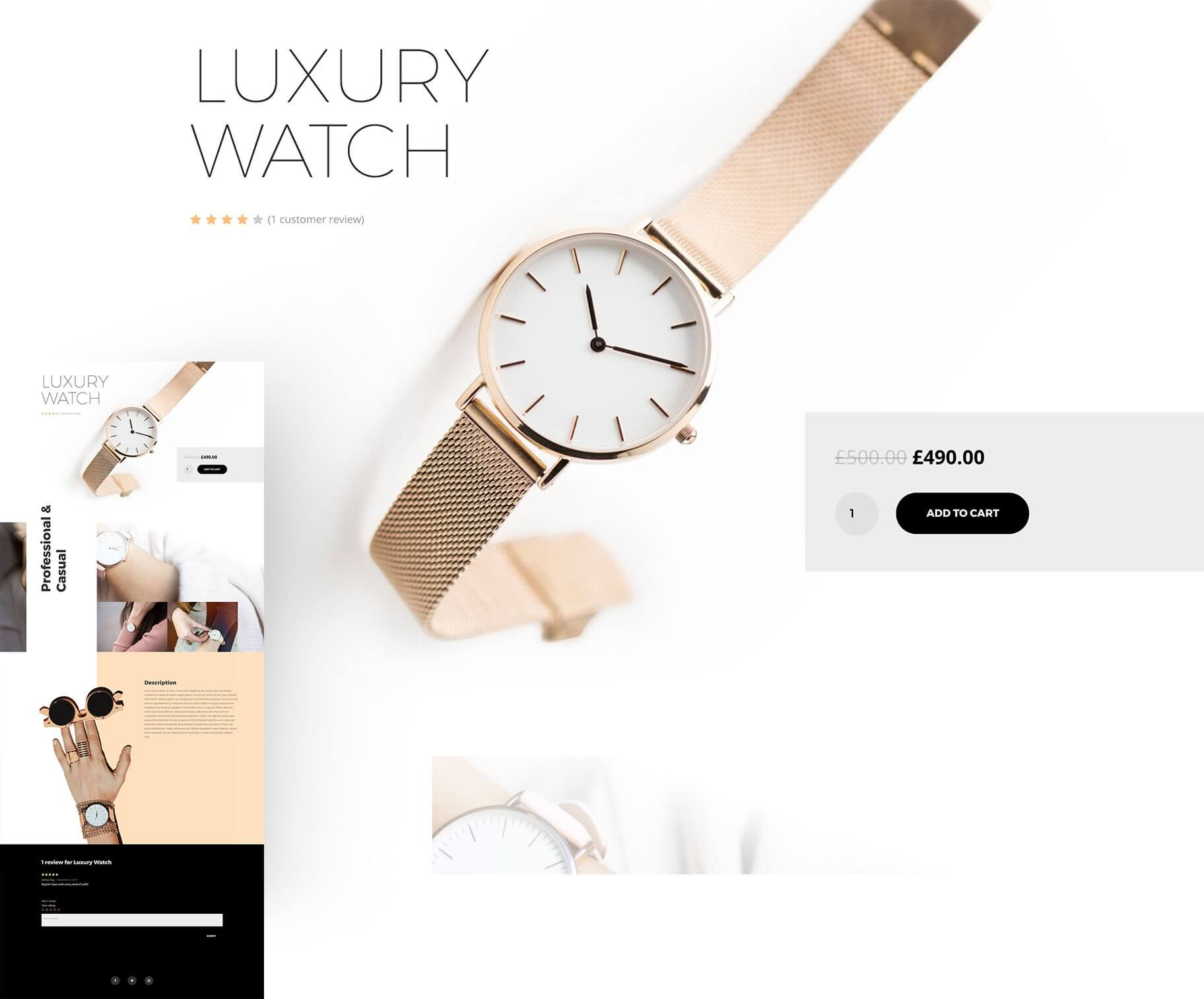 divi review of divi woocommerce builder with example watch page