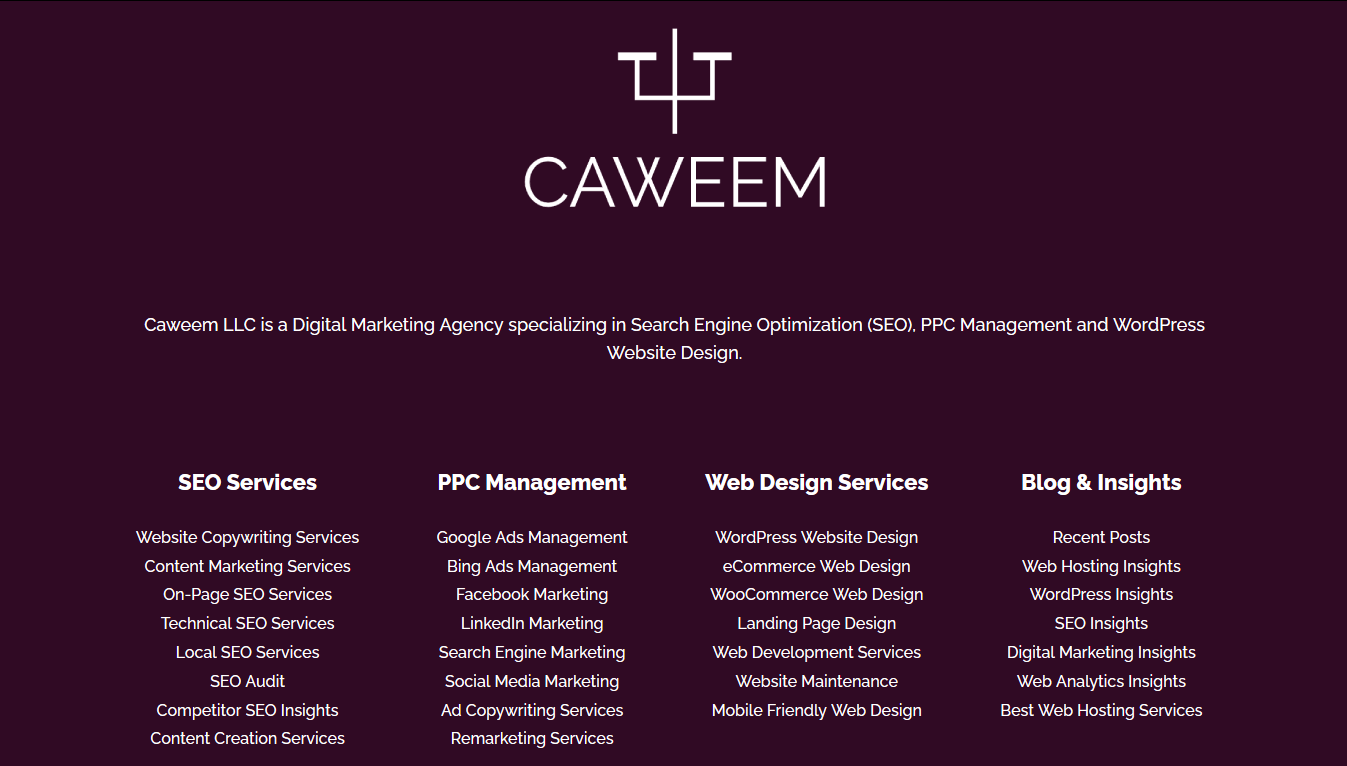 divi review of divi theme builder feature using caweem main footer