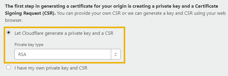 generate private key and csr rsa key to install cloudflare ssl on godaddy