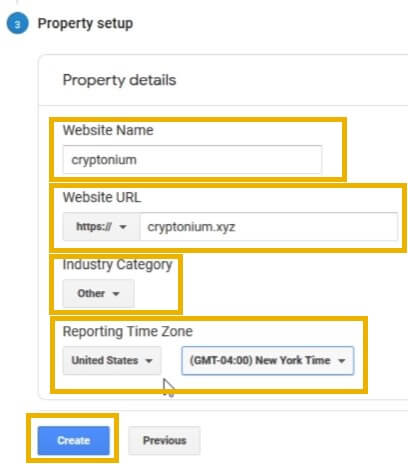 google analytics property setup and property details