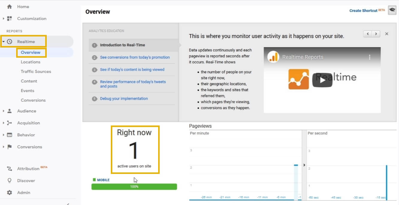 google analytics test realtime visitors