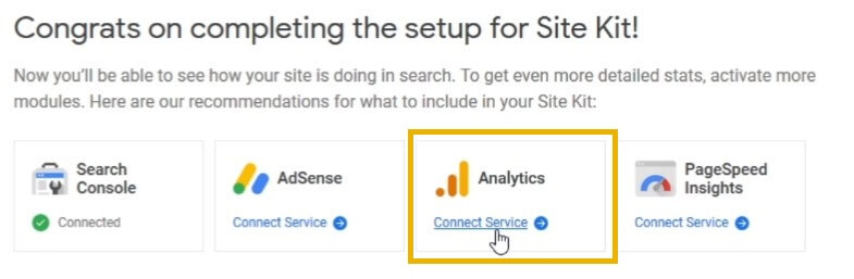 google site kit google analytics connect service