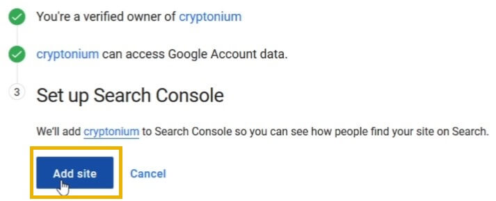 google site kit setup search console