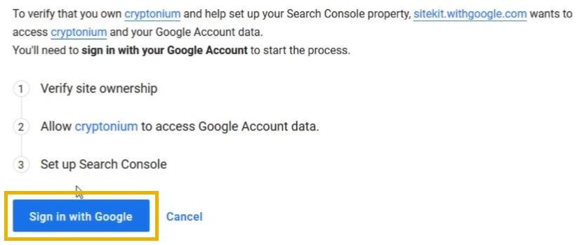google site kit sign in