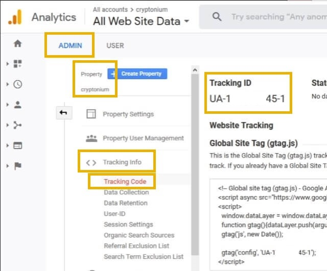where to find google analytics tracking id