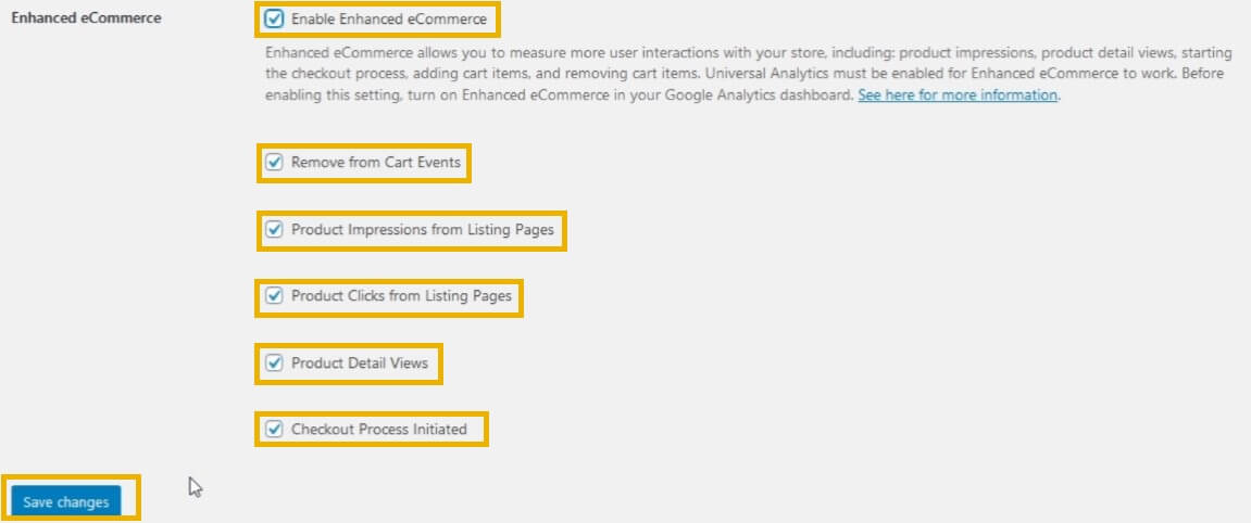 woocommerce google analytics enhanced ecommerce settings