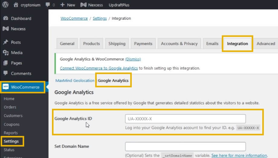 woocommerce google analytics integration settings