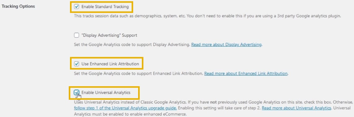 woocommerce google analytics tracking options
