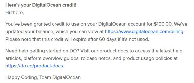 digitalocean credit
